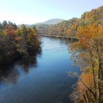 The horseshoe bend in the French Broad River by Horse Shoe, NC. Close to The Horse Shoe Farm