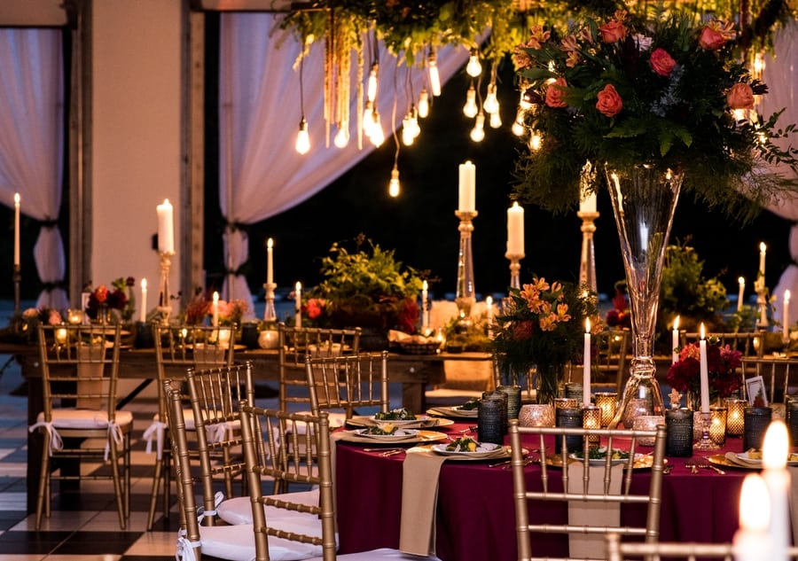 wedding reception in the Sunset Barn