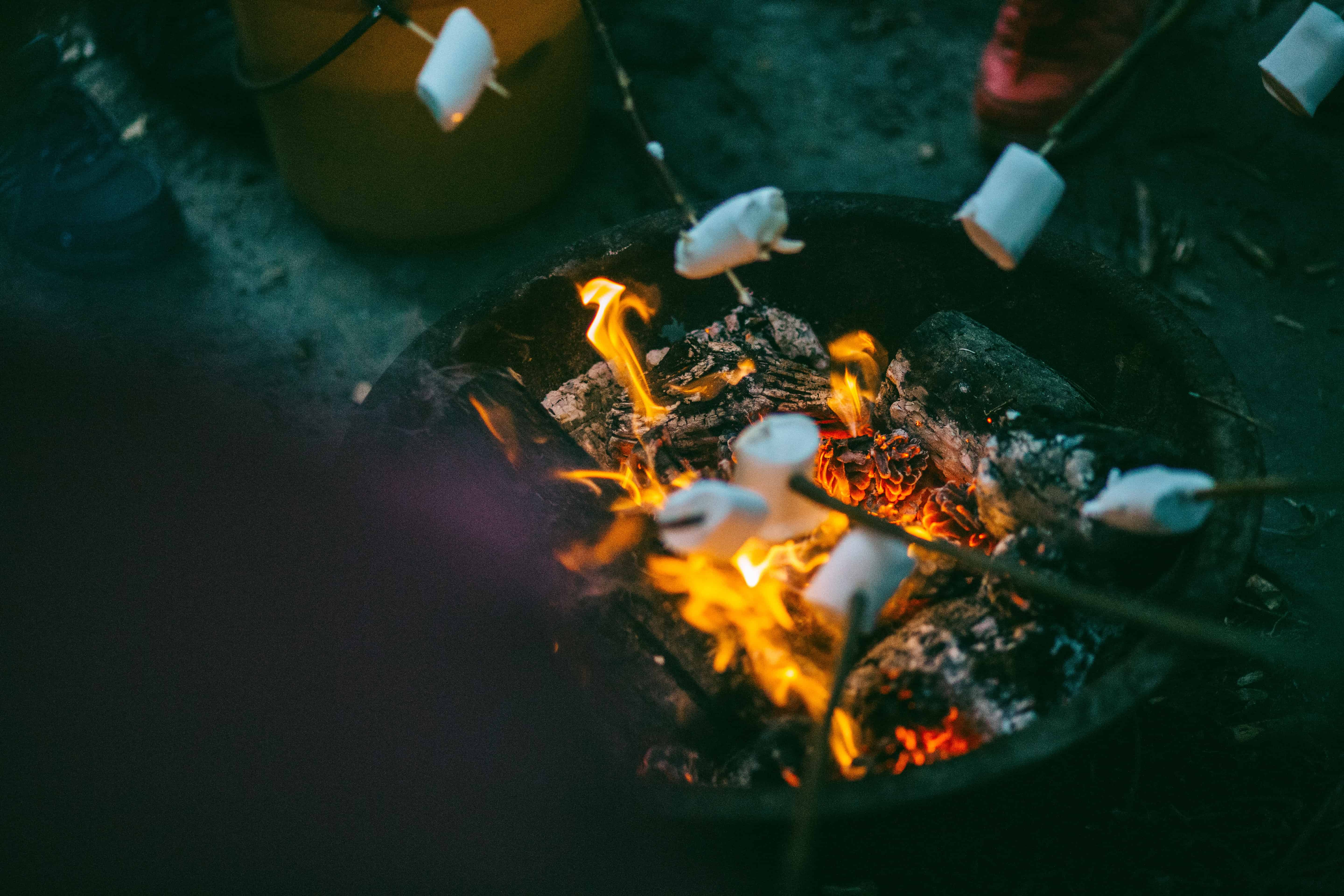roasting s'mores by the fire- a holiday tradition