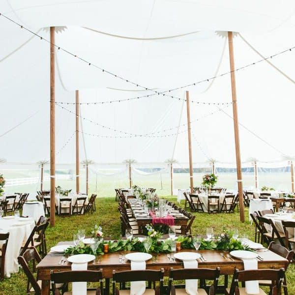 Tented canopy for events and weddings at The Horse Shoe Farm.